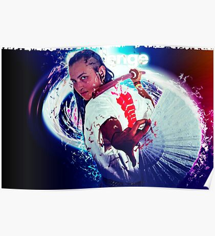 Young punk teen girl wielding a bokken (a wooden Japanese sword used for practice) digitally enhanced Poster