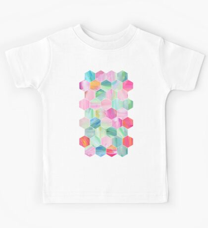Pretty Pastel Hexagon Pattern in Oil Paint Kids Tee
