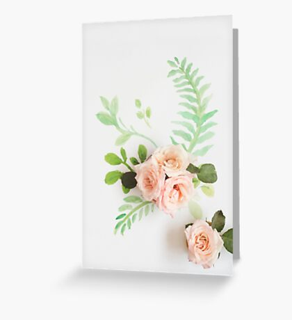 Watercolor and roses Greeting Card