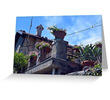 House with many flower pots in Portofino Greeting Card