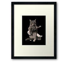 Cat Playing Banjo Guitar Framed Print