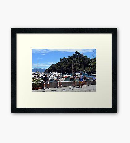 PORTOFINO, ITALY, August 6, 2016. Picturesque harbor of Portofino, an Italian fishing village, Genoa province, Italy. A vacation resort with celebrity and artistic visitors. Framed Print