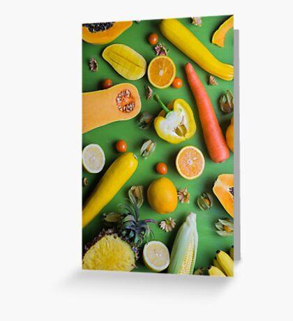Yellow food on green Greeting Card