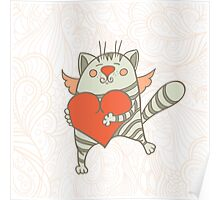 a cat with a heart Poster