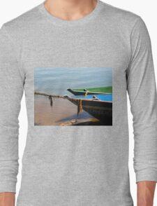 boat on lake Long Sleeve T-Shirt