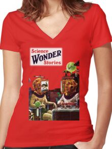 Science Wonder Stories magazine Women's Fitted V-Neck T-Shirt
