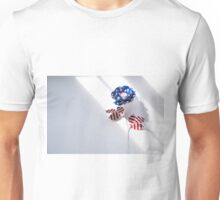 Paper flower made from American flag Unisex T-Shirt