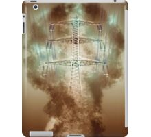 Digitally enhanced image of a High voltage power lines and pylon  iPad Case/Skin