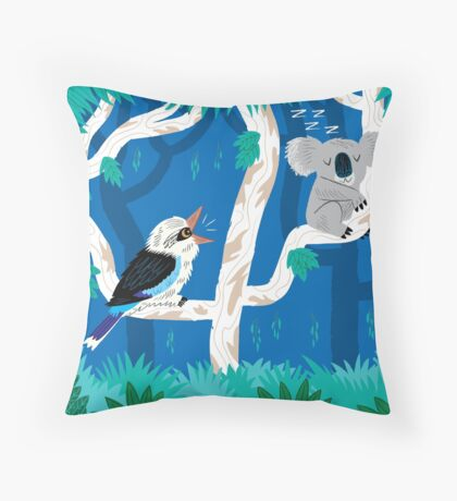 The Koala and The Kookaburra Throw Pillow