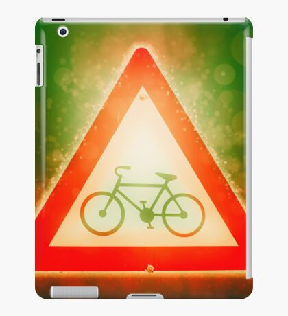 Israel, Bicycle caution road sign on white background iPad Case/Skin