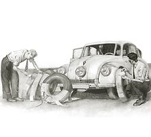 Travel and adventure with a historic car. by art-koncept