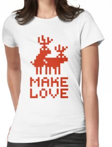 Christmas sweater deers in love Womens Fitted T-Shirt