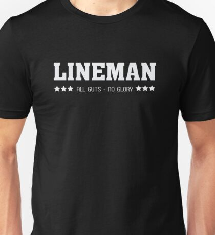 Lineman All Guts No Glory Funny Football  Unisex T-Shirt
