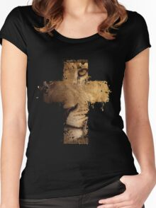 Lion Cross Christian  Women's Fitted Scoop T-Shirt