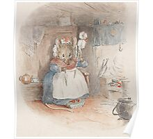 A cute Field Mouse spinning yarn by Beatrix Potter Poster
