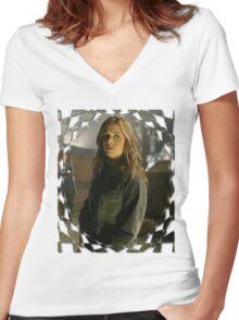 Buffy Angel Faith Eliza Dushku 1 Women's Fitted V-Neck T-Shirt