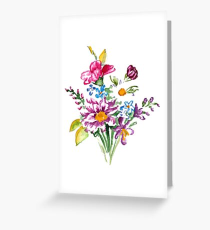Colorful bunch of flowers  Greeting Card