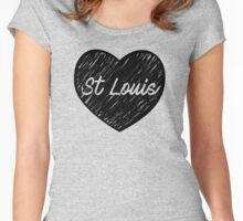 I Love Saint Louis - I Heart STL (cursive) Women's Fitted Scoop T-Shirt