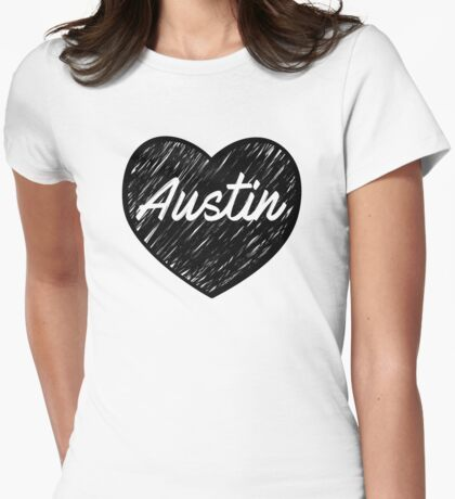 I Love Austin - I Heart ATX (Cursive) Womens Fitted T-Shirt
