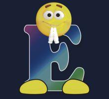 Letter E Alphabet Smiley Monogram Face Emoji Shirt for Men Women Kids Kids Tee