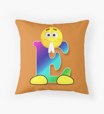 Letter E Alphabet Smiley Monogram Face Emoji Shirt for Men Women Kids Throw Pillow