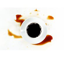 Cup of coffee on white background with stains. Breakfast. Photographic Print