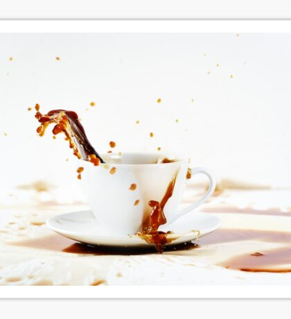 Cup of spilling coffee creating beautiful splash Sticker