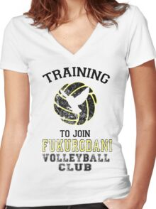 Training to join Fukurodani Volleyball Club Women's Fitted V-Neck T-Shirt