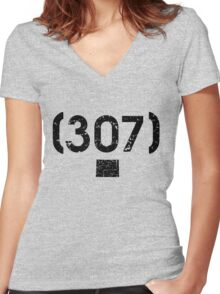 Area Code 307 Wyoming Women's Fitted V-Neck T-Shirt