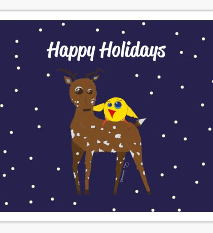 Diego the Deer and Yellow Bird Celebrate Sticker