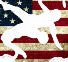 USA WRESTLING WITH FLAG Sticker