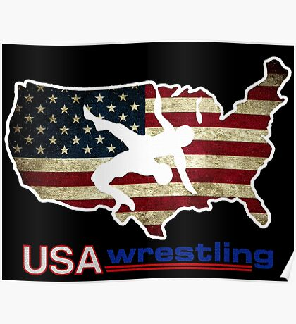 USA WRESTLING WITH FLAG Poster