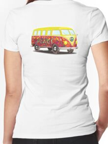 VW, Peace and Love, Van, Hippy, Hippies, Flower Power, Love in, 70s Women's Fitted V-Neck T-Shirt