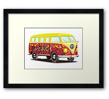 VW, Peace and Love, Van, Hippy, Hippies, Flower Power, Love in, 70s Framed Print