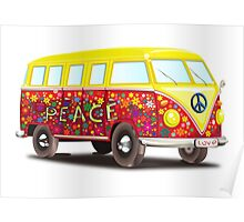 VW, Peace and Love, Van, Hippy, Hippies, Flower Power, Love in, 70s Poster