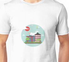Oriental Japanese Mountain Sunset Unisex T-Shirt