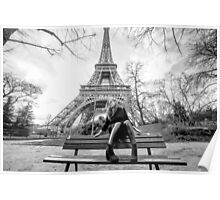 black and white picture in paris Poster