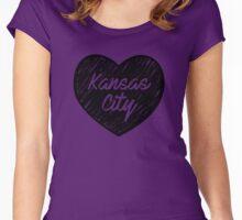 I Love Kansas City - I Heart KC (Cursive) Women's Fitted Scoop T-Shirt
