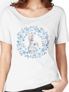 Rabbit and floral wreath Women's Relaxed Fit T-Shirt