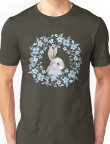Rabbit and floral wreath Unisex T-Shirt