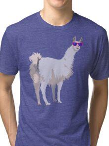 Cool Llama In Sunglasses Tri-blend T-Shirt
