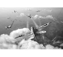 Headlong attack (Hurricanes over Weymouth) black and white version Photographic Print