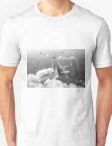 Headlong attack (Hurricanes over Weymouth) black and white version T-Shirt