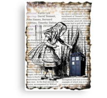 Little Girl Found Police Public Call Box on Old Newspaper Canvas Print