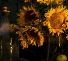 Still life with sunflowers. Photo in low key Sticker