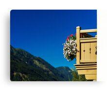 Beautiful alpine summer landscape. Mountains and sun, blue sky, calm place. Austria. Canvas Print
