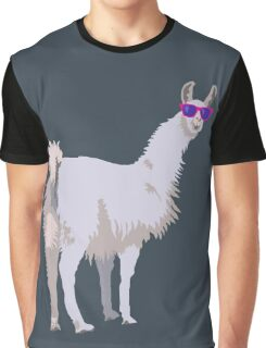 Cool Llama In Sunglasses Graphic T-Shirt