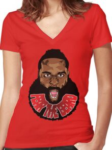 Harden Fear the Beard Women's Fitted V-Neck T-Shirt