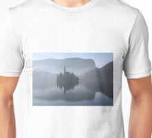 Church in mist on Lake Bled Slovenia Unisex T-Shirt
