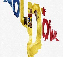 Moldova Typographic Map Flag by A. TW